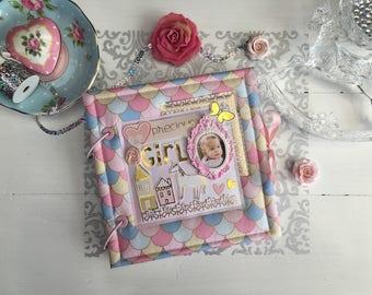 Scrapbook Baby Memory Album, 8x8 Scrapbook Album, Handmade Photo Album, Fabric Scrapbook Photo Album, Beautiful Gift