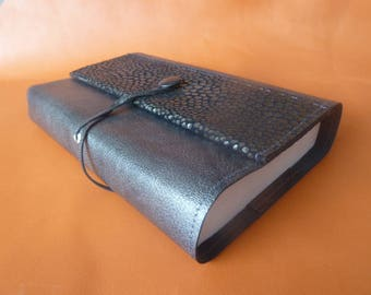 For 18 cm tall books maxi, book adaptable leather sheep grey - taupe, with fancy leather headpiece