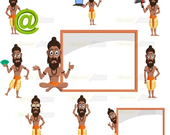80% off Promo sale,Sadhguru clipart  – Full Body Character Design digital clipart set,clipart commercial use, vector graphics