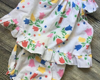 Vintage Cradle Togs Floral Tulip Baby Girl Outfit Size 12 Months, Infant Two Piece Set, Shirt Top, Bloomers, Tulip Outfit, Flower Pattern