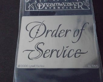 wedding 'Order of service' stencil/template.