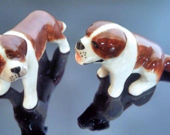 Porcelain dog.2 Figurine of St. Bernard. ceramics. home decor. art