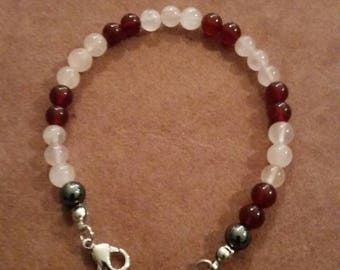 Rose quartz 6mm and agate and hemetite beads bracelet stylish and fancy
