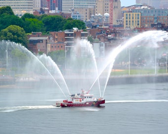 Boston City Fire boat, Marine 1, Boston Fire Department, FireBoston Firefighters, Charlestown Navy Yard, Boston, North End