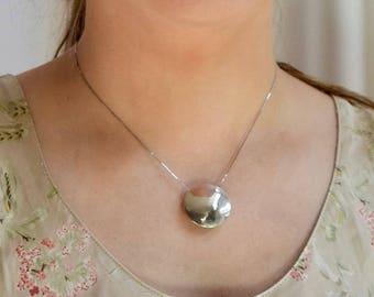Sterling silver lentil bead pendant-hand made
