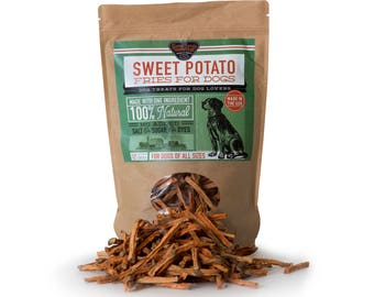 Sweet Potato Dog Treats - Fries - 100% Natural and American Made, No artificial flavors or preservatives