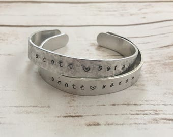 Metal Hand Stamped Bracelet - Personalized- Hand Stamped - Adjustable - Aluminum