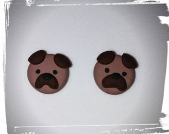 Puppies in clay earrings polymer