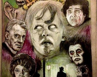 The exorcist collage drawing