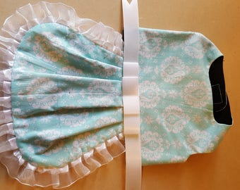 Light Blue and White Floral Western Custom Design Harness Dress Small