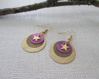 Gold and purple sequin earrings