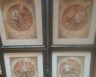 """Lot of 4 Chef Prints by Shari Warren: Vin/Fromage/Les Fruits/Boulangerie Matt/Framed """"Chefs on Bicycles"""""""