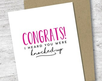 Congrats! I Heard You Were Knocked Up Card | Pregnancy Card | Baby Shower | Expecting | New Mom | Congratulations Greeting Card | New Baby