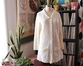 cream 70s tunic cardigan . vintage sweater coat . ribbed knit cardigan with collar size large