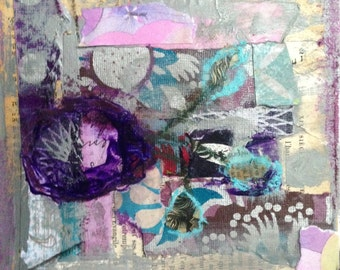 Collectible Small Art Original Mixed Media Painting - Purple Room