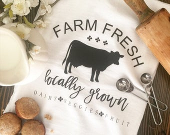 Farm Fresh Locally Grown Fruits Veggies Dairy Cow Spring Kitchen Tea Towel Flour Sack Farmhouse