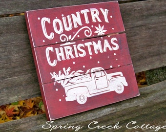 Farmhouse Country Christmas, Sign, Holiday Decor, Handpainted, Wood Signs, Holidays, Seasonal, Rustic, Winter, Christmas, Plank Signs