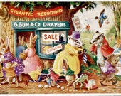 Vintage Postcard, Racey Helps, Medici Society, The Sale, Dressed Animals, Paper Collectibles, Little Animals, Woodland Art, Badgers, Bunnies