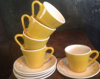 Syracuse Syralite Coffee Cup Saucer Set Of Five 5 Mid Century Vintage Heavy Restaurant China 1970s USA