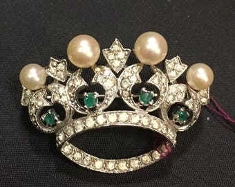 Signed PANETTA Pin, Hard to Find 1960's Royal CROWN Brooch, Emeralds and Pearls Jeweled Pin