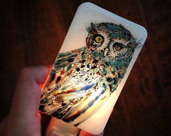 Owl Nightlight Hand Painted enamel on white Fused Glass - No. 5 - Happy Owl - night light - multicolored blue red green OOAK one-of-a-kind