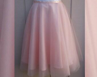 "Pink Ballet Tulle Tutu Skirt / Knee length - midi // size XS - 22"" - 23"" Waist"