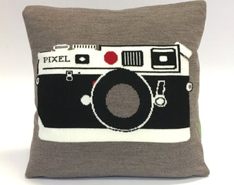 Vintage 35mm Camera Pillow - Knit Cushion