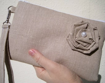 Wedding Clutch natural linen wristlet, 2 pockets, makeup, travel, medium,linen flower