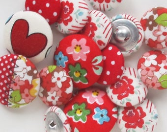 Grab Bag of Red Fabric Buttons