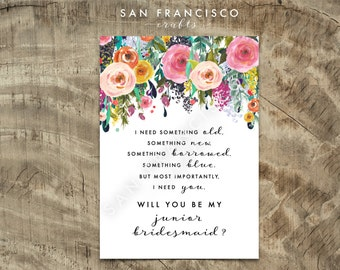 Will you be my Junior BRIDESMAID Card |  Size A7 or 5x7, Flat and Folded Card Proposal | ashley |Printable PDF, Instant Download