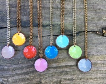 Enameled lucky penny pendant necklace,  penny jewelry, enameled pennies, candy dots, upcycled pennies, recycled penny