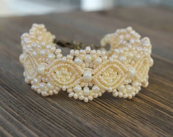 Micro-Macrame Beaded Cuff Bracelet - Ivory