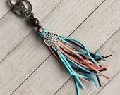 Boho Tassel Keychain Boho Western Cowgirl Fringe Tassel Purse Bag Handbag Charm Zipper Pull + Dreamcatcher Charm Southwest Native Feather
