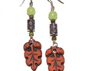 Terra Cotta Leaf Earrings with Decorative Sterling Silver Scroll Beads