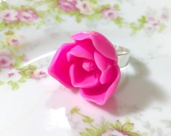Pink Lotus Flower Ring, Huge Pink Flower Ring, Pink Flower Statement Ring, Big Pink Flower Ring, Bright Pink Lotus Ring, KreatedbyKelly