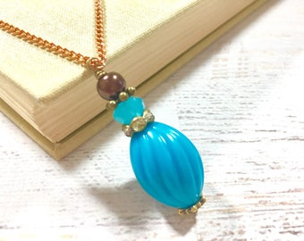 Vintage Chunky Bead Pendant, Blue and Brown Necklace, Layering Necklace, KreatedbyKelly