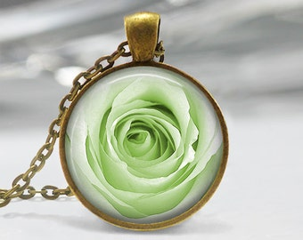 Green Rose Pendant, Rose Art Pendant, Rose Jewelry, Green Rose Art Pendant, Rose Necklace, Bronze Silver, Green Rose Glass Dome Pendant 1294