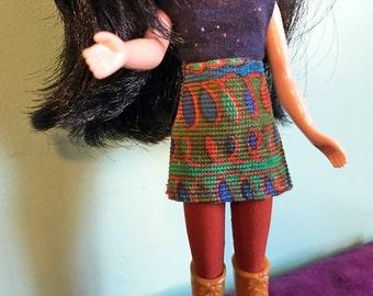 Scribble Design Corduroy Mod Mini Skirt for Blythe