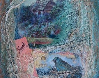Serenity, Assemblage art, Mixed Media by Griselda Tello, Secret Garden
