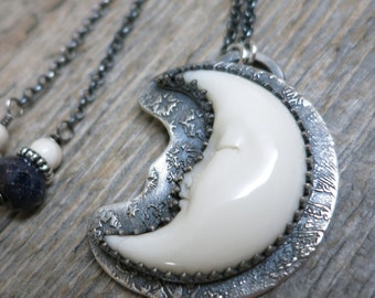Blessed necklace ... recycled fine silver / sterling silver / hand carved crescent moon / sapphire