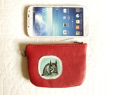 SALE owl Red Leather Small zip Wallet