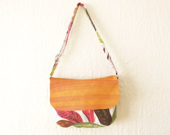 Vintage Barkcloth and Leather Small Crossbody Bag