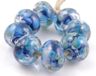 Moonlight Sonata - Handmade Artisan Lampwork Glass Beads 8mmx12mm - Blue, Sparkle - SRA (Set of 8 Beads)