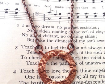 butterfly wings necklace - featuring beautiful antique engraved copper pendant - READY to SHIP
