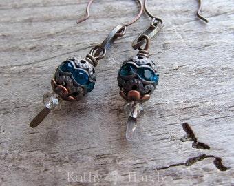 Something Blue    Winter Wedding   Organic   Blue Crystal Earrings   Rhinestones   Bridal Jewelry   Winter Wedding   Earrings Under 20