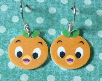 Orange Bird earrings (White)