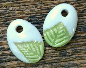 Ceramic Beads, Ceramic Charms, Ceramic Pendants, Leaf Beads, Leaf Charms, Leaf Pendants, Ceramic Pendant, Green Charms, Leaf Earrings