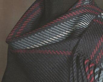 Black scarf / Handwoven merino wool winter scarf