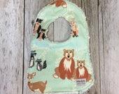 Gender Neutral Baby Bib in Mint Woodland Animal Fabric ...