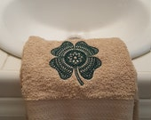 Shamrock embroidered hand towel, St. Patrick's day hand towel, Shamrock hand towel, Embroidered hand towel Shamrock hand towel, Shamrock
